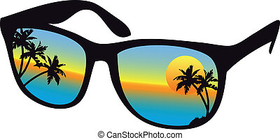 tramonto, occhiali da sole, mare