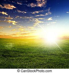tramonto, paesaggio, natura
