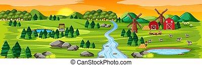tramonto, paesaggio natura, scena, fattoria, granai