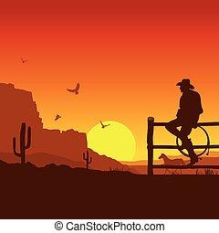 tramonto, sera, selvatico, ovest americano, paesaggio, cowboy