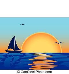 tramonto, silhouette, mare, barca