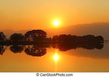 tramonto, sopra, bello, lago