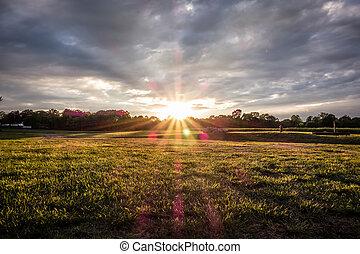 tramonto, sopra, fattoria, campo verde