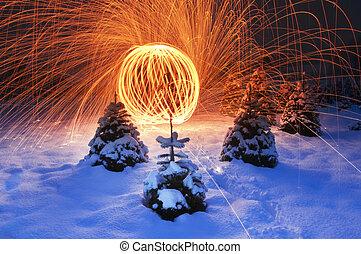 tramortire, illuminazione, mostra, paesaggio, nevoso