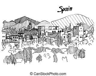 transatlantico, montagna, schizzo, spagna, vettore, castello