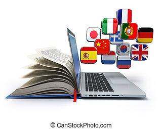 translator, o, concept., laptop, lingue, libro, cultura, linea, online., flags., e-imparando