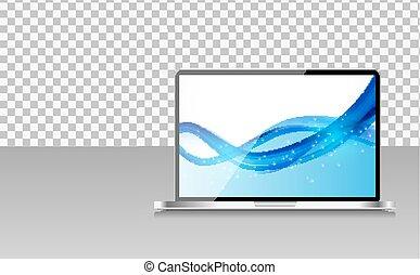 transperent, computer, fondo., laptop, carta da parati, illustrazione, astratto, realistico, vettore, schermo