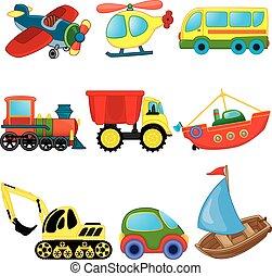 transport., cartone animato, set, vettore