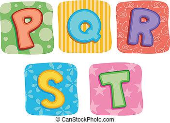 trapunta, alfabeto, q, p, s, r, t, lettera