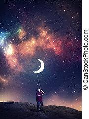 trascinare, luna