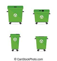 trashcan, riciclare, verde, illustrazione