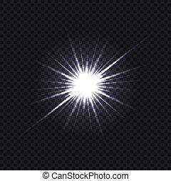 trasparente, bianco, scoppio, luce ardente, fondo