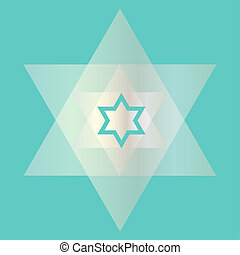 trasparente, fondo, blu, stella ebrea, argento