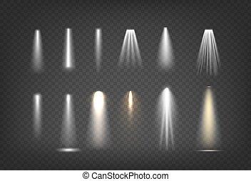 trasparente, vettore, lightt, isolato, set, effetti, differente