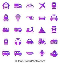 trasporto, bianco, pendenza, icone, fondo