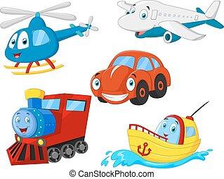 trasporto, cartone animato, collezione