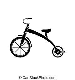 trasporto, fondo., casato, bianco, bambini, illustration., triciclo