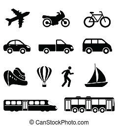 trasporto, nero, icone