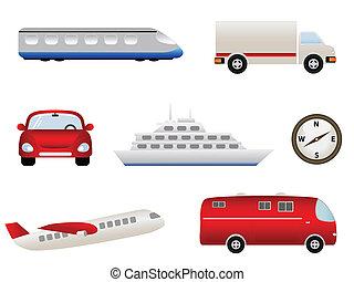 trasporto, relativo, icone