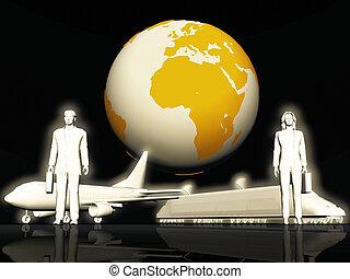 trasporto, treno, aereo, commerciale