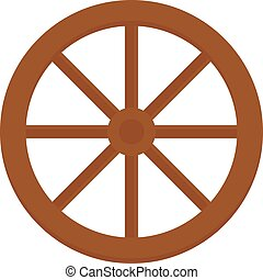 trasporto, vecchio, legno, carrello, vettore, vendemmia, illustration., ruota