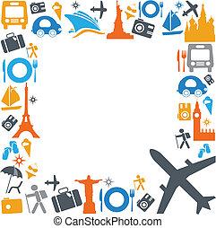 trasporto, viaggiare, colorito, icone