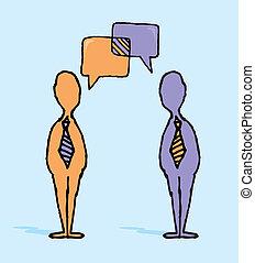 trattativa, affari, /, dialogo, uomini affari