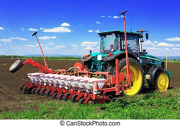 trattore, aratura, presto, campi, spring.