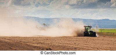 trattore azienda agricola, asciutto, terra, aratura