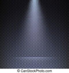 trave, trasparente, illustration., raggi luminosi, fondo., sagoma, checkered, vettore, proiettore, isolato