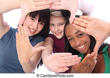 tre, cultura, studente, etnico, divertimento, amici ragazza