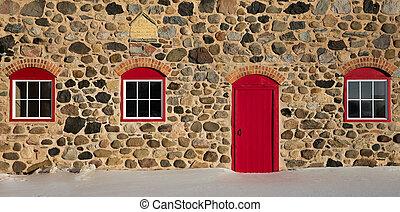 tre, granaio, porta, pietra, windows, vecchio, rosso, luminoso