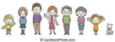 tre, illustrazione, generazione, famiglia