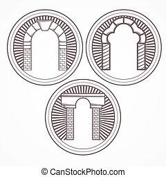 tre, illustrazione, vettore, mattone, arco, tipi, icona