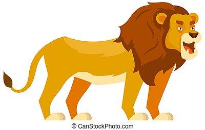 tre, standing, quarto, leone, vista.