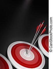 tre, uno, a4, vantaggio, centro, primo, effetto, strategico, mercato, competitivo, marketing, concept., offuscamento, immagine, blu, o, verticale, raggiungimento, molti, bersaglio, frecce, obiettivi, format., affari