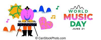 trendy, pianoforte gioca, bandiera, musicale, musica, giorno, ragazza