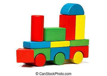 trenino, sopra, blocchi, legno, multicolor, fondo, bianco, locomotiva, trasporto