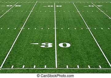 trenta, iarda, campo football, americano, linea