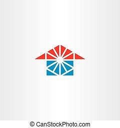 triangolo blu, casa, logotipo, rosso, icona