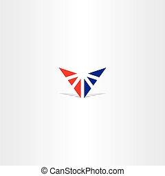 triangolo blu, lettera, v, logotipo, rosso