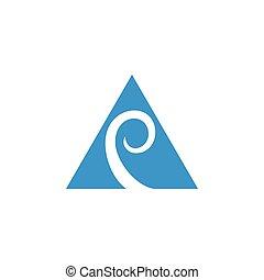 triangolo, cappio, logotipo, vettore