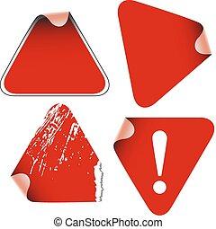 triangolo, etichette, adesivi, tesserati magnetici