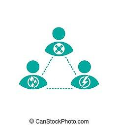 triangolo, interazione sociale, karpman, persone, modello, fra, conflict., scheme., umano, dramma