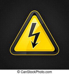 triangolo, metallo, segno pericolo, alto, avvertimento, tensione, superficie