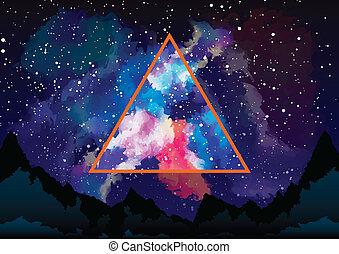 triangolo, mistico, attraverso, astrale, galassia, vista