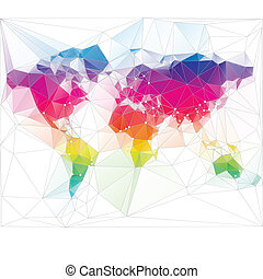 triangolo, mondo, disegno, colorato, mappa