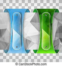 triangolo verde, trasparenza, piastre, blu, etichette