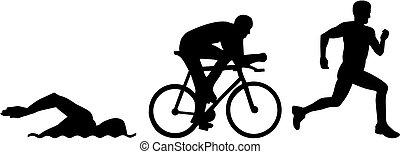 triathlon, silhouette
