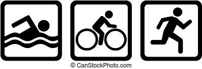 triathlon, triplo, bicicletta, nuotare, corsa